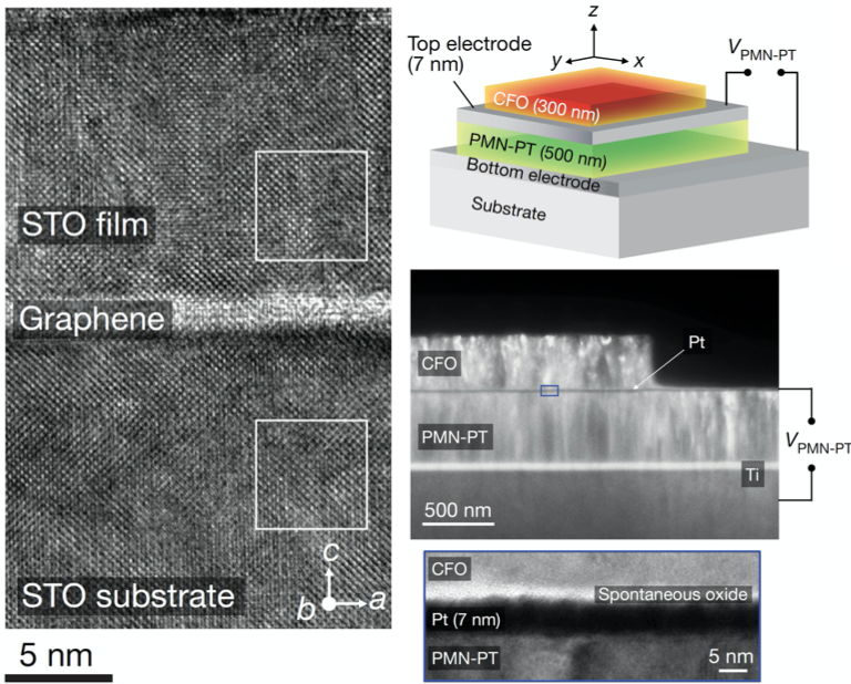 Electron micrographs and illustrations of remote epitaxy
